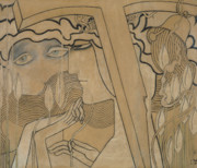 Face Pastels Framed Prints - The Desire and the Satisfaction Framed Print by Jan Theodore Toorop