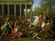 Temples Painting Posters - The Destruction of the Temples in Jerusalem by Titus Poster by Nicolas Poussin