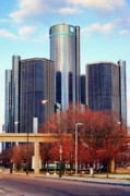 Lights Digital Art Originals - The Detroit Renaissance Center by Gordon Dean II