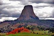 Black Hills Framed Prints - The Devils Tower WY Framed Print by Susanne Van Hulst