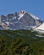 Colorado National Parks Posters - The Diamond on Longs Peak in Rocky Mountain National Park Colorado Poster by Brendan Reals