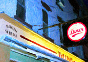 Nyc Digital Art Posters - The Diner Greeting Card Poster by John Rizzuto