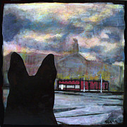 Jacksonville Mixed Media Prints - The Dingo Visits the Courthouse Under Construction Print by Yvonne Lozano