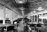Ships And Boats Prints - The Dining Room Of The Rms Titanic Print by Everett