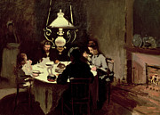 Moody Painting Framed Prints - The Dinner Framed Print by Claude Monet