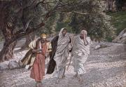 Bible Painting Prints - The Disciples on the Road to Emmaus Print by Tissot