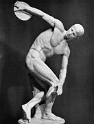 Athlete Photos - The Discobolus, 450.b.c by Granger