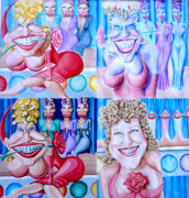 Caricature Mixed Media - The Divine Miss M by Debbie  Diamond
