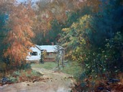 Autumn Landscape Painting Framed Prints - The Dixon Place Framed Print by Ed Gowen