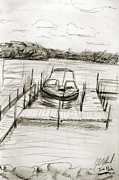 Docked Boat Drawings Prints - The Docks in Spring Park Print by Julio Villamil