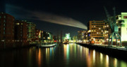 The Docks Of Hamburg By Night Print by Rob Hawkins