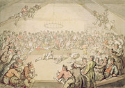 Crowds Paintings - The Dog Fight by Thomas Rowlandson
