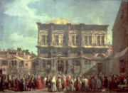 Religious Art Painting Prints - The Doge Visiting the Church and Scuola di San Rocco Print by Canaletto