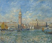 Boats In Water Painting Posters - The Doges Palace in Venice  Poster by Pierre Auguste Renoir