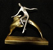 Dolphin Sculpture Originals - The dolphin rider by Darko Beranovic
