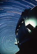 Keck Telescope Posters - The Dome Of The Keck Telescope And Star Trails Poster by Dr Fred Espenak
