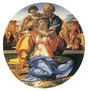 Michelangelo Painting Framed Prints - The Doni Tondo Framed Print by Michelangelo Bounarroti