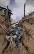 Trenches Paintings - The Donkey by Francois Flameng