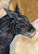 Burro Mixed Media - The Donkey by Lynnette Shelley