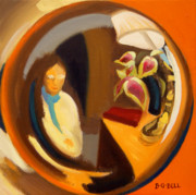 Self-portrait Prints - The Doorknob Self-Portrait Print by Betsy Gray