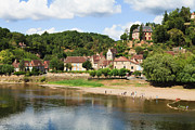 Aquitaine Metal Prints - The Dordogne River At Limeuil, Dordogne, Aquitaine, France Metal Print by Fraser Hall