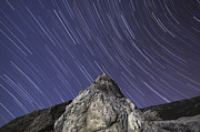 Light Rays Prints - The Draconids Meteor Shower Taken Print by Miguel Claro