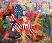 Abstract American Flag Paintings - The Draft by Suzanne  Marie Leclair