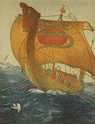Sailing Ships Prints - The Dragon Ship. Viking Ship At Sea Print by Everett