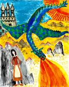 Sue Burgess Ceramics Posters - The dragon Poster by Sushila Burgess