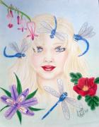 Dragonflies Drawings - The Dragonfly Girl by Scarlett Royal