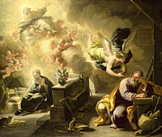 Angel Gabriel Prints - The Dream of Saint Joseph Print by Luca Giordano