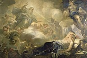 Chaise Prints - The Dream of Solomon Print by Luca Giordano