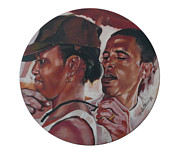 Barack And Michelle Obama Paintings - The Dream Team by Belle Massey