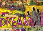 African-american Mixed Media Framed Prints - The Dream Trio Framed Print by Angela L Walker