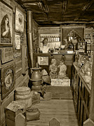 Vintage Photographs Prints - The Drug Store Sepia Print by Ken Smith