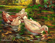 Lush Colors Painting Posters - The Duck Pond At Botanical Gardens Poster by Carole Spandau