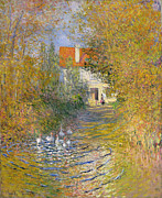 Exterior Prints - The Duck Pond Print by Claude Monet