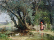 Pond Painting Prints - The Duck Pond Print by Eduard Heinel