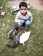 Portraits Pyrography - The Duck seller by Anup Kumar Das