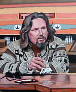 Celebrity Portrait Paintings - The Dude by Tom Roderick