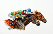 Racehorse Paintings - The Duel by Thomas Allen Pauly