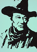 John Wayne Drawings Metal Prints - The Duke In Color Metal Print by Robert Margetts