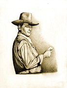 John Wayne Drawings Framed Prints - The Duke Framed Print by Jamie Warkentin
