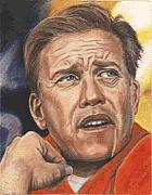 Quarterback Paintings - The Duke of Denver - John Elway by Kenneth Kelsoe