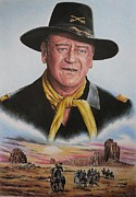 Cowboy Pencil Drawing Posters - The Duke U.S.Calvery Poster by Andrew Read