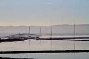 Hayward Metal Prints - The Dumbarton Bridge in The Bay Area Viewed Through Coyote Hills California . 7D10961 Metal Print by Wingsdomain Art and Photography
