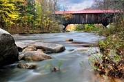 New Hampshire Fall Foliage Framed Prints - The Durgin Covered bridge - Sandwich NH Framed Print by Thomas Schoeller