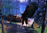 Digital Images Prints - The Eagle is Landing Print by Garry Staranchuk