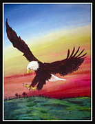 American Eagle Paintings - The Eagle by Kerdy Mitcho