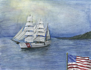 Coastguard Painting Prints - The EAGLE Sails Print by Sarah Howland-Ludwig